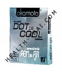ถุงยางอนามัย Okamoto Dot de Cool โอกาโมโต ดอทเดะคูล - สูตรเย็น (ผิวคางคก 1350 ปุ่ม) - 1 โหล