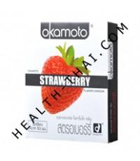 ถุงยางอนามัย Okamoto Strawberry โอกาโมโต สตรอเบอรี่ - 53 มม. - ครึ่งโหล