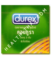 ถุงยางอนามัย Durex Contura ดูเร็กซ์ คอนทูรา - ถุงยางอนามัย มีวงแหวน 52 มม. - 1 โหล