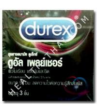 Durex Dual Pleasure ดูเร็กซ์ ดูอัลเพลเชอร์-ถุงยางอนามัย มียาชาชะลอการหลัง ผิวไม่เรียบ 56 มม.-ครึ่งโห
