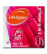 LifeStyles 2 in 1 ถุงยางอนามัย ไลฟ์สไตล์ ทูอินวัน - ถุงยาง มีวงแหวน กลิ่นสตรอเบอรี่ 52 มม. - 1 กล่อง