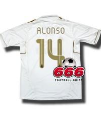 14 Alonso เสื้อบอล เสื้อฟุตบอล ทีม เรอัลมาดริด เหย้า real madrid home 2011 2012 football shirt