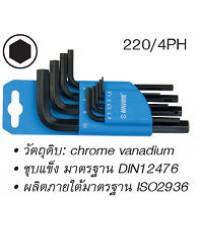 ประแจหกเหลี่ยม ตัวแอล ชุบแข็ง ชุดในพลาสติก (มิล) 10 ตัวชุด UNIOR 220/4PH-10PCS
