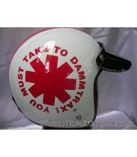AVEX หมวกกันน็อคคลาสสิค รุ่น Dammtrax สีขาว/แดง