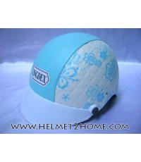 หมวกกันน็อคทรงครึ่งใบ KINGDEX helmet ลายดอกชบา สีฟ้า