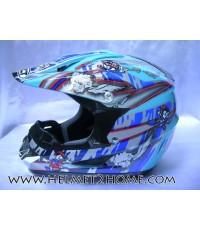 หมวกกันน็อควิบากเด็ก WLT helmet รุ่น 125 ลายการ์ตูน สีฟ้า