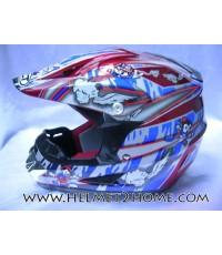 หมวกกันน็อควิบากเด็ก WLT helmet รุ่น 125 ลายการ์ตูน สีแดง