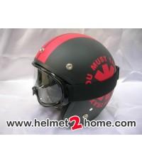 หมวกกันน็อคคลาสสิค Dammtrax เอเว็กซ์ Classic helmet รุ่น SPEED WHEELสีดำด้าน/แดง+แว่นวิบาก G1 สีดำ