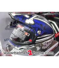 หมวกโมตาด LS2 MX433 ลายหัวกระโหลก สีน้ำเงิน