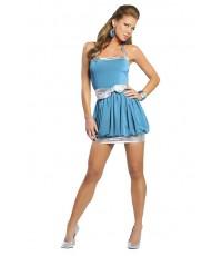 pre order แฟชั่นชุดกระโปรงสีฟ้า คล้องคอ คาดโบว์ สีเงิน Sexy blue Mini Dress Clubwear Dance Lingerie