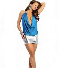 pre order  ชุดซีทรู สีฟ้า คว้านลึก เปิดอก คล้องคอ พร้อมกระโปรง mini skirt สีเงิน