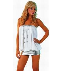 pre order มินิเดรส ชุดเกาะอกสีขาวสวยเซ็กซี่ กระโปรงสั้นมิดิเดรสสีเงิน  Pillow mini dress clubwear