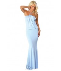 พร้อมส่ง  ชุดราตรียาวสีฟ้า  Long Satin Nightgown
