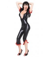 พร้อมส่ง  ชุดหนัง เซ็กซี่ ชุดพีวีซี ชุดไวนิล บอดี้สูท สีดำ  Vinyl Bodysuit Wetlook jumpsuit