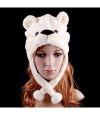 หมวกแฟนซี พร้อมส่ง หมวกการ์ตูน หมวกแฟนซี หมวกรูปสัตว์ หมวกหัวหมี หมวกหมี Cartoon Animal Bear cute fl