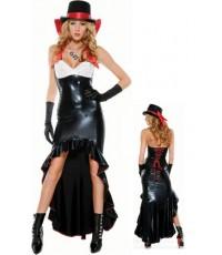 pre order   ชุดแฟนซี นักมายากล พร้อมหมวก ไม่รวมถุงมือ 2PC Sexy Leather Gown