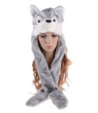 พร้อมส่ง หมวกหัวสัตว์ หมวกหมาป่า  หมวกแฟนซีสัตว์ หมวกสัตว์เกาหลี หมวกแฟนซีขนนุ่ม หมวกสัตว์ขนนุ่ม