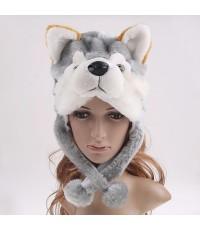 พร้อมส่ง หมวกแฟนซีหัวสัตว์ หมวกหัวหมาป่า หมวกหมาป่า สีเทา