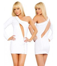 pre order ชุดเดรส ขาว เซ็กซี่ White One Sleeve Dress With Zipper Cutout