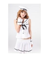 (ของหมด!!!)  ชุดแฟนซี กะลาสีเรือ ขุดกะลาสี ทหารเรือหญิง พร้อมหมวก และข้อมือ 4 Piece Sexy Sailor Cost