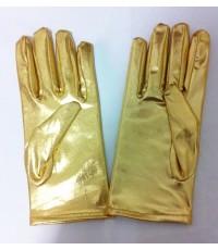 พร้อมส่ง ถุงมือหนัง พีวีซี สั้น ถุงมือไวนิล สีทอง Gloves PVC short gold Vinyl