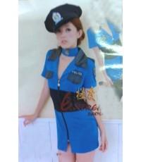 พร้อมส่ง ชุดแฟนซี  ชุดแฟนซีตำรวจ  พร้อมหมวก Sexy Officer Blue Costume