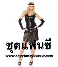 พร้อมส่ง ชุดแฟนซี ปักเลื่อม พร้อมถุงมือ และที่คาดศีรษะ Slinky Sequin Dance Wear With Gloves Black