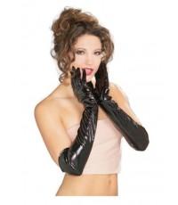 (ข อ ง ห ม ด ค่ะ) ถุงมือหนังแก้ว พีวีซี  ยาว ถุงมือไวนิล สีดำ 1 คู่ Wet-look Faux Leather Gloves