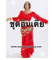 (ข อ ง ห ม ด ค่ะ)  ชุดอินเดีย ชุดแขก Belly Dance Costume Top  Skirt  Waist Link Red