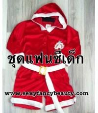 พร้อมส่ง ชุดซานตาครอสเด็กชาย ชุดซานต้าเด็ก หมวกฮู้ด ผ้ากำมะหยี่(แบบบาง) size 12 ประมาณ 11-12 ปี