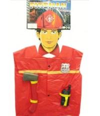 พร้อมส่ง ชุดคลุม นักดับเพลิง อายุตั้งแต่ 3 ขวบขึ้นไป เนื้อพลาสติก(คล้ายถุงพลาสติก)