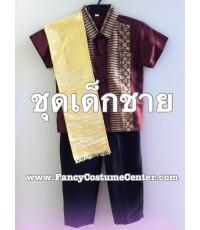 pre order  ชุดอาเซียเด็ก ASEAN ชุดลาวเด็ก ชุดอาเซียนลาว สีน้ำตาล  sizeS ประมาณ 3 ขวบ