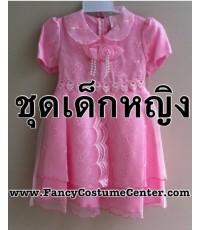 pre order  ชุดอาเซียน ASEAN ชุดฟิลิปปินส์เด็ก สีชมพู กระโปรงพอง(บุผ้ามุ้งด้านใน) size30(ขนาด7-8ขวบ)