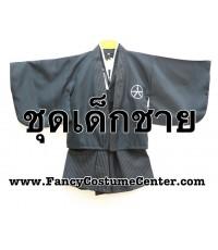 พร้อมส่ง  ชุดซามูไรเด็กผู้ชาย ชุดญี่ปุ่นเด็กผู้ชาย สีดำ size M ขนาดเด็กสูง 110-120 cm