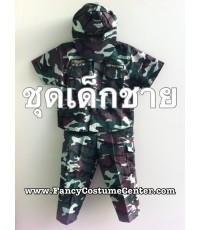 พร้อมส่ง ชุดทหาร เนื้อผ้าแข็ง เสื้อแขนสั้น กางเกง พร้อม หมวก size8 (อายุประมาณ 7ขวบ)