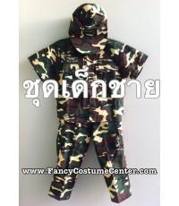 (ของหมด!!!)  ชุดอาชีพเด็ก ชุดทหาร เนื้อผ้าแข็ง เสื้อแขนสั้น กางเกง พร้อม หมวก size10 (อายุประมาณ8