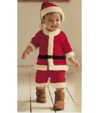 พร้อมส่ง  ชุดซานตาครอสเด็กเล็ก พร้อม หมวก เข็มขัด (สินค้าจริงเป็นกำมะหยี่ดี) ขนาดเด็กสูง 100 cm