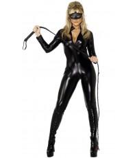 พร้อมส่ง ชุดหนังเซ็กซี่ ชุดหนังเทียม สีดำ Fever Whiplash Black Catsuit