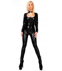 พร้อมส่ง ชุดหนังเซ็กซี่ ชุดหนังเทียม สีดำ Sexy Black PVC Scoop Neck Jumpsuit Costume