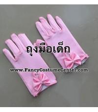 พร้อมส่ง ถุงมือเด็ก ถุงมือผ้ามัน ประดับโบว์ ถุงมือเชียร์ลีดเดอร์เด็ก สีชมพู ขนาดเด็กอนุบาล