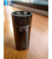 สตาร์ท คาปาซิเตอร์ - แคปสตาร์ท (ตัวพลาสติกกลม สีดำ) หัวเสียบ 50-60uF 220V (สินค้าลดราคาล้างสต็อก)