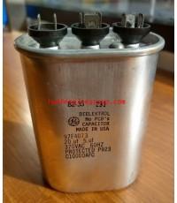 รันนิ่ง คาปาซิเตอร์ - แคปรัน 3 ขั้ว (ตัวโลหะวงรี สีเงิน) หัวเสียบ 20/5uF 370V 60Hz \'GE\' (สินค้าลดร
