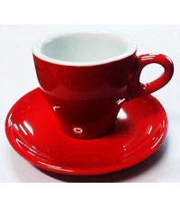 ชุดแก้ว+จานรองเซรามิค ทรงทิวลิป ขนาด 7 ออนซ์ สีสันสดใส [00873]