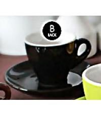 ชุดแก้ว+จานรองเอสเปรสโซ เซรามิค ทรงทิวลิป ขนาด 2 ออนซ์ สีขาว หรือสีดำ [01351]
