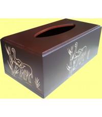 กล่องทิชชู่ ไม้สักลายช้างไทย