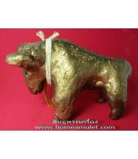 วัวธนู ทอง เนื้อดิน7ป่าช้าผสมผงอาถรรพณ์ หายาก หลวงปู่ ครูบาแก้ว วัดร่องดู่ ขนาดบูชา สูง2.5ยาว4 นิ้ว