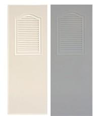 ประตูพีวีซี หนา 1.5 นิ้ว thai door express สีเทา สีครีม บานเกร็ดครึ่งบาน