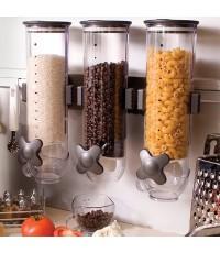 ที่จ่ายซีเรียล ที่ใส่เมล็ดกาแฟ ติดผนัง โถพลาสติกใสใส่ธัญพืช 3 โถ 1602-129