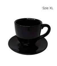 ถ้วยกาแฟ 320 CC. (Size XL) ถ้วยกาแฟลาย Glossy Black พร้อมจานรอง 1618-066