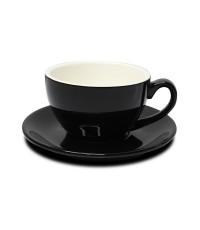 ถ้วยกาแฟ 150 ML. (Size M) ถ้วยกาแฟดำ-ขาวข้างใน พร้อมจานรอง 1618-069